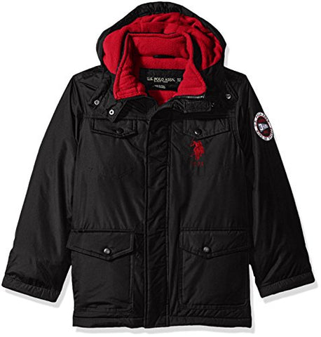 U.S. Polo Assn. Big Boys' Outerwear Jacket (More Styles Available), Parka Jacket Black, 14/16