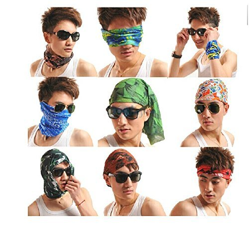 Cool Pack of 6 Pcs Seamless Style Camo Bandanna Headwear Scarf Wrap Neck  Gaiters  Perfect for Running & Hiking, Biking & Riding, Skiing &