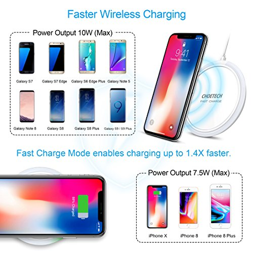 CHOETECH 7.5W Fast Wireless Charger Charging Pad Compatible with iPhone X 8 8 Plus, 10W Quick Charger Compatible with Samsung Galaxy S9 S8 S9 Plus Note 9 Note 8(QC3.0 AC Adapter Included)