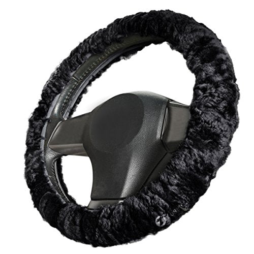 Zone Tech Luxurious Non-slip Car Decoration Steering Wheel Plush Cover – Black Authentic Sheepskin Thermal Steering Wheel Cover