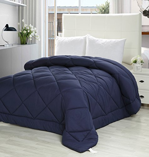 Utopia Bedding Queen Comforter Duvet Insert Navy - Quilted Comforter with Corner Tabs - Plush Siliconized Fiberfill, Box Stitched Down Alternative Comforter, Machine Washable - by