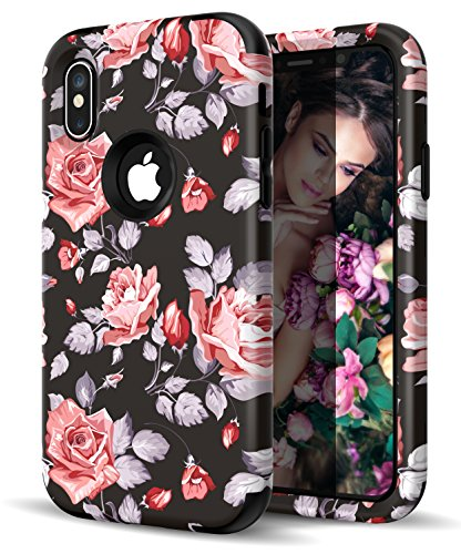 wholesale dealer 0d499 3e9a8 iPhone X Case,Vodico Cute Girly Flower Retro Floral Pattern For Girls/Women  Hybird Slim Anti-Scratch Shock Absorption With Dual Layer Hard PC&Silicone  ...