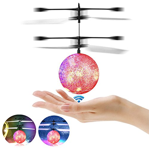 RC Flying Ball, RC Infrared Induction Helicopter Ball Built-in Shinning LED Lighting Colorful Flying for Kid's Toy (red)
