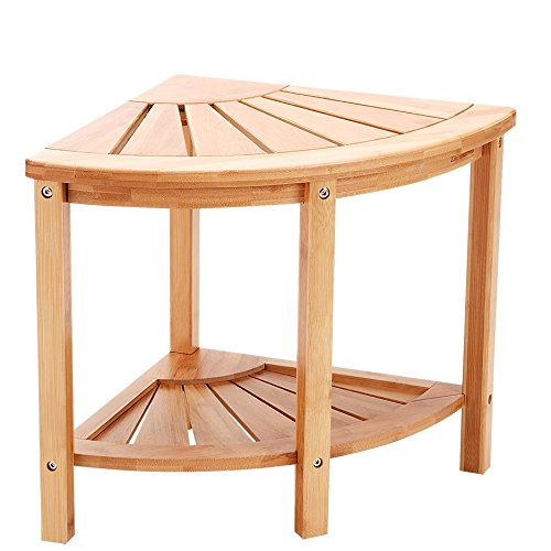 Zhuoyue Corner Shower Bench&Shower Bench Seat Stool with 2-Tier Storage Shelf Applicable for Bathroom