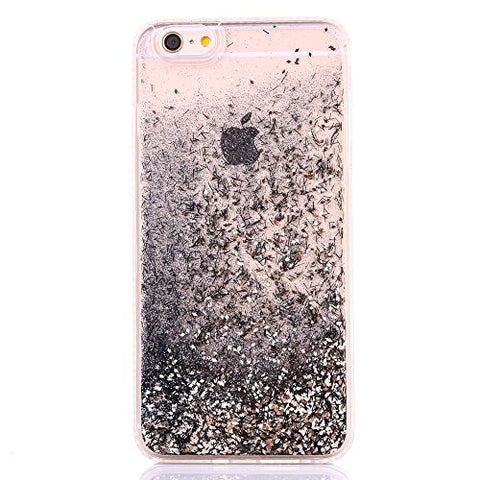 iPhone 6S Plus Case, iPhone 6 Plus Case, GreenDimension Funny Liquid Quicksand Dynamic Flowing Floating Bling Glitter Sparkle Black Hard Clear PC Back with Soft TPU Hybrid Plating Diamond Bumper Cover