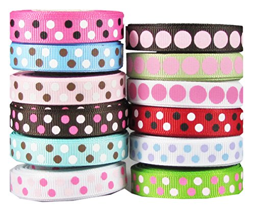 "Hipgirl 60 Yards 3/8"" Grosgrain Fabric Ribbon Set For Gift Package Wrapping, Hair Bow Clips & Accessories Making, Crafting, Sewing, Wedding Decor, Boy Girl Baby Shower--12x5yd) Polka Dot"
