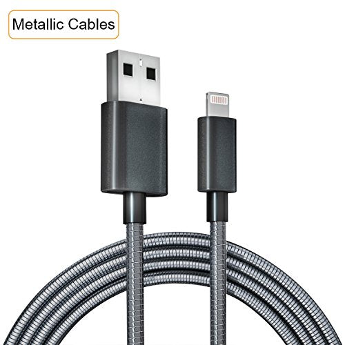 Luxury Metallic Braided iPhone Lightning Cable, Safe Charging Cords USB  Charger - Fast Charging Data Sync Line for iPhone 7 7 Plus/ X / 8 8 Plus/ 6  6s
