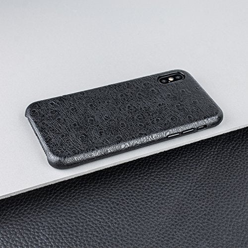 new style cd38d dd45b Olixar iPhone X Genuine Leather Case - Ostrich Leather Design Snap On Back  Cover With Textured Design - Wireless Charging Compatible - Apple iPhone X  ...