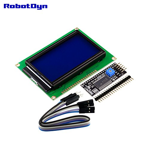 RobotDyn - I2C graphic LCD 128x64 display with I2C interface, connection  2-wire (Blue background), for projects with Arduino, AVR, STM32, ARM,