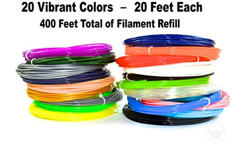 3D Pen Non-Toxic Filament Refills - PLA 1.75mm-20 Colors-20 Feet Each-Total 400 Feet 3D Printing Compatible With Most 3D Pens-For All Ages-Safe For Kids-PLA Safer Then ABS-Oderless Smell