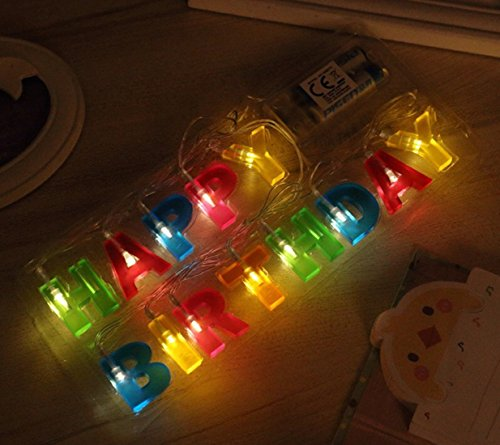 Happy Birthday Lights Alotm 13LED Letter String Battery Powerd LED Rope