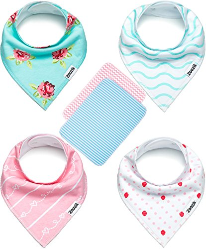 "Baby Bandana Drool Bibs for Girls with 2 Burp Cloths, 6-Pack Gift Set for Drooling and Teething, 100% Organic Cotton, Soft, Absorbent, Hypoallergenic - ""Darling Set"" By Zoozik"