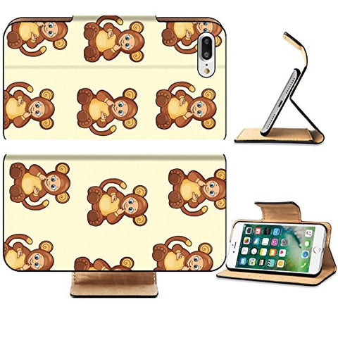 Luxlady Premium Apple iPhone 7 Plus Flip Pu Leather Wallet Case iPhone7 Plus 44896326 Seamless Background with baby dressed like monkey