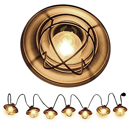 Ucharge Patio String Lights, Globe String Lights Outdoor 7 Bulb Vintage Ambience Lighting with Metal Cover Cafe/Shop/Gazebo Light Party Hanging Indoor Outdoor String Lights - Backyard Lights 8.5ft