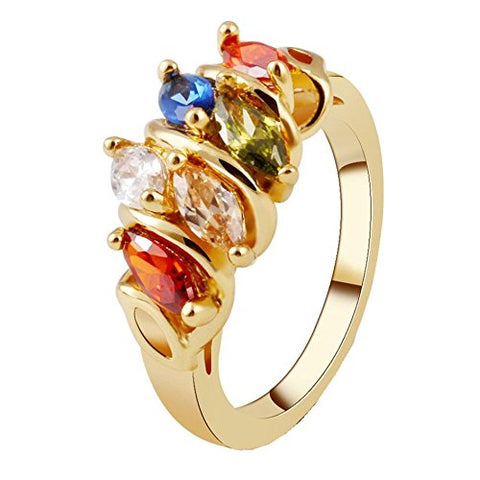 Women Ring Vibola Fashion Noble Luxury colorful sapphire Colorful Zircon Crystal party Rings (Gold, 6)