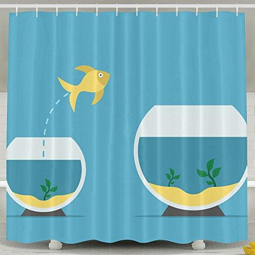 Curitis Eden Designer Gold Fish Jumping From Little To Large Aquarium On Blue Courage