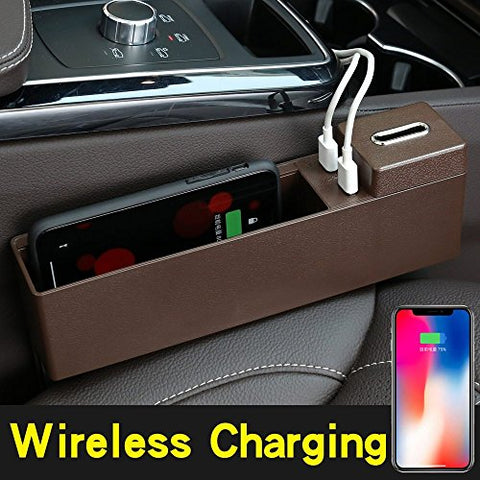 YICHUMY Qi Wireless Charger Phone Holder Car Seat Storage Organizer Mulfunction Car Storage Box for iPhone 8, iPhone x, Samsung Galaxy S9, S9 Plus Note 9 Seat Side Organizer (Brown)