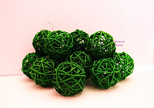 Christmas Gifts Small Dark Green Rattan Ball Wicker Balls DIY Simple Decorative Balls For Bowls Green
