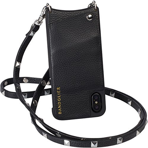 Case For iPhone X/iPhone10 | Real Black Leather Women Wallet With SILVER Hardware Phone Cover. Cross-Body Strap iPhoneX Mobile Holder for ID & Credit Cards. Carry Cell Handsfree. Sarah by Bandolier
