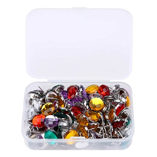 100 PCS Creative Push Pins Upholstery Tacks Crystal Tacks Nail with Steel Needle Point for Decoration Color