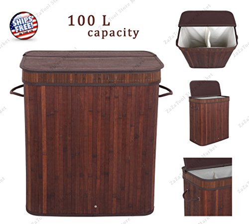 ZaZaTool - Bamboo Laundry Hamper Basket Wicker Clothes Storage Bag Sorter Bin Organizer Lid