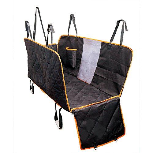 Dog Seat Cover With Side Flaps, Dog Viewing Window - Large Back Seat Cover  with Mesh Barrier - Hammock Pet Car Seat Cover With Seat Anchors for Cars,