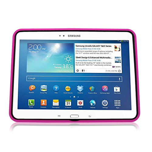 low priced d0136 5441e Cellularvilla Case for Samsung Galaxy Tab 3 10.1 inch Tablet P5200 P5210  Pink Black Hard Soft Hybrid Armor Heavy Duty Rugged Shell Protective Case  ...