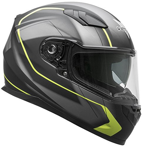 Vega Helmets RS1 Street Sunshield Motorcycle Helmet - DOT Certified Full Facerbike Helmet for Cruisers Sports Street Bike Scooter Touring Moped, Bluetooth Comp (Black Slinger Graphic, X-Large)
