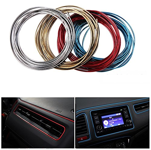 Geekercity 5 Meters 3D DIY Automobile Car Motor Interior Exterior Decoration Moulding Trim Line Strips Sticker Accessories Car Door Dashboard Airvent Steering-wheel Styling Decorative Thread (Gold)