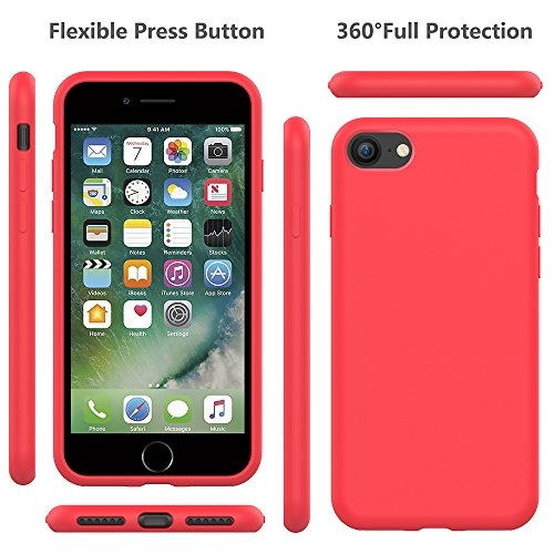 5da389e8168 iPhone 8 Silicone Case, iPhone 7 Silicone Case PENJOY Full Body Protection  Silicon Cases Support Wireless Charging Slim Rubber Cover for Apple iPhone  ...