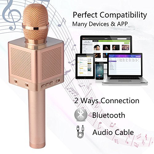 MICGEEK Q10S丨Wireless Bluetooth Karaoke Microphone,4-in-1 Speakers,Super  Li-ion Battery,Play/Sing/Record Modes,Best Mini Portable Home Music Machine