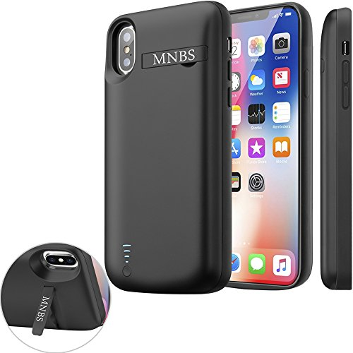 new product 77491 a2cdb iPhone X Battery Case, MNBS 5000mAh Rechargeable Charger Case With Stand,  Protective Portable Charging Cover Lightning Cable Input Mode Extended  Cases ...