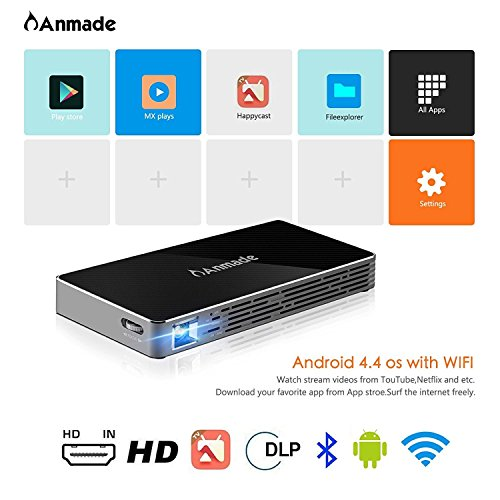 Mini Projector DLP- ANMADE Pocket Projector for iPhone/Android/Laptop  Portable Video Projector of 1080P HD/USB/TF Card/Wifi/Bluetooth for Home  and