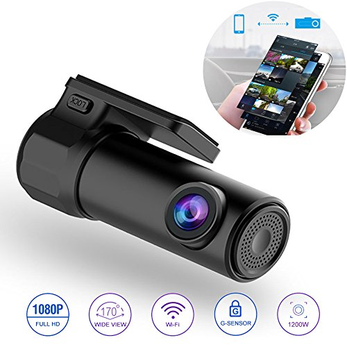 WiFi Car DVR Dash Camera HD 1080P Mini Vehicle Video Recorder 170 Degree Wide Angle APP Monitor Night Vision G-Sensor Loop Video for IOS Android Phone