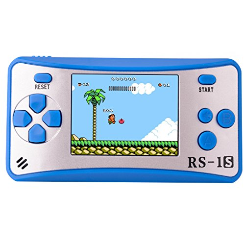 Portable Handheld Game Console Gaming Player Birthday Gift for Kids Built in 168 Classic Retro Games(Blue)