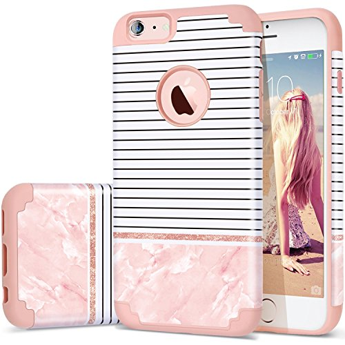 new product 5f978 15ca4 iPhone 6 Plus Case,iPhone 6PLUS Case Stripes,Fingic Slim Pink Case Stripes  Pink Marble Design Hybrid Case Hard PC&Soft Silicone Protective Case for ...