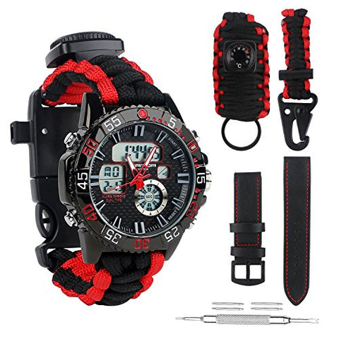 BlueStraw Men Women Survival Analog Digital Watch, Waterproof Tactical Dual Time Display Emergency Sports Adjustable Watch 5 Time Patterns 3 Interchangeable Wristbands Alarm Watch with Survival Gear