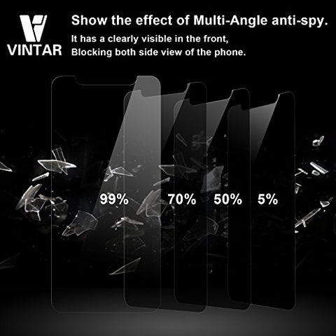 Vintar 9H Anti-Spy iPhone X Privacy Screen Protector, 2.5D Curve Edge Tempered Glass, Easy Install.