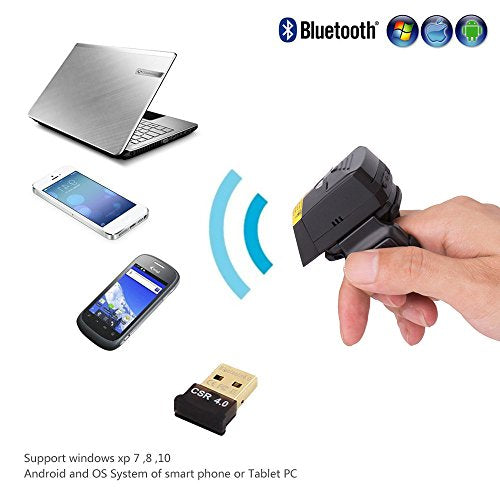 Bluetooth Barcode Scanner, POSUNITECH Barcode Reader Wireless 1D Wearable  Ring-style Portable Mini FS01 Support IOS Android Windows