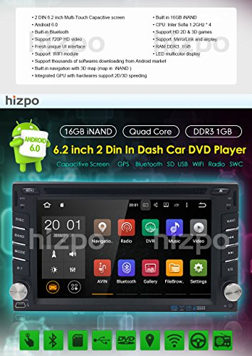 Best Wifi Model Android 6 0 Quad-Core 6 2 Inch Touch-screen Universal Car  DVD CD player GPS Double 2 din Stereo GPS Navigation Free Map