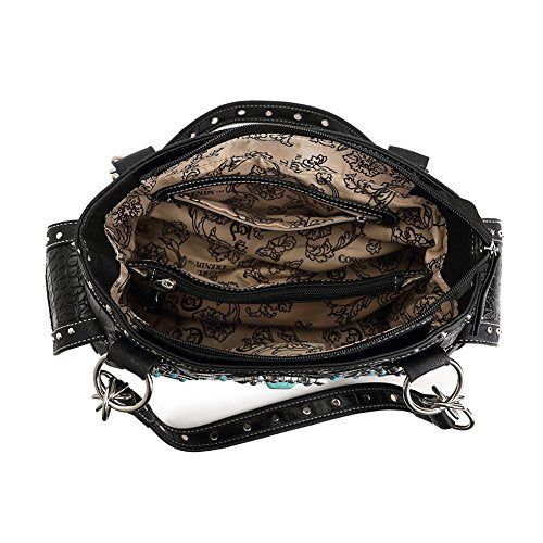 e0a767d1e07 Best Black Tooled Faux Alligator Vegan Leather Concealed Carry Over the  Shoulder Travel Western Bag Purse