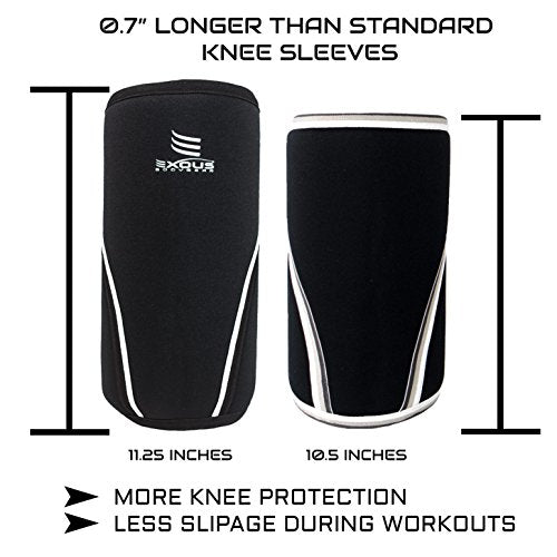 7e7bfc1810 7mm Thick Knee Sleeves Compression & Support Brace [1 Pair] Performance  Neoprene For Weight