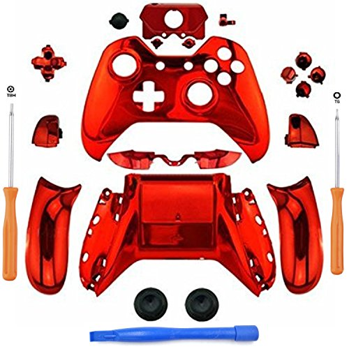 eLUUGIE Replacement Chome Red Controller Housing Full Shell Set Faceplates  for Xbox One Controller with 3 5 mm Jack Xbox One Controller Full Housing