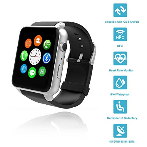 Wingtech Bluetooth Wireless GT88 Smart Watch Pedometer Activity Tracker  Heart Rate Monitor Watch with Camera Sim Card Slot for iOS/Android  Smartphones