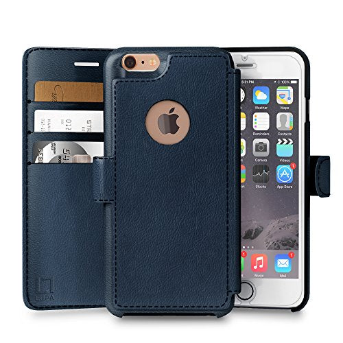 iPhone 6 PLUS,6s PLUS Wallet Case | Durable and Slim | Lightweight with Classic Design & Ultra-Strong Magnetic Closure | Faux Leather | Navy Blue | Apple 6/6s PLUS (5.5 in) (Navy Blue)