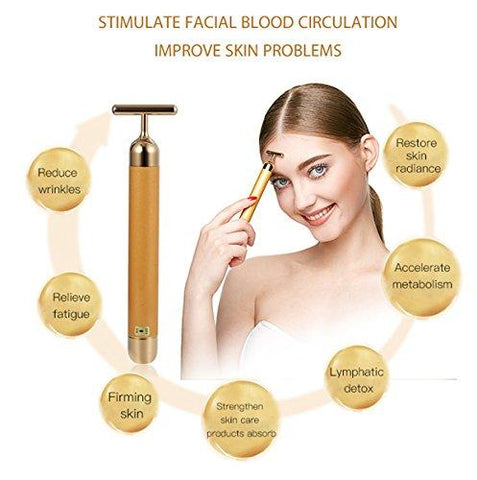 YSBER 24K Golden Face Massager & Beauty Care Vibration Facial Electric Massager for Lifting Skin Tightening Anti-wrinkle Bar Face Skincare (C)