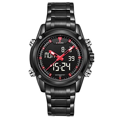Mens Watches,Han Shi Fashion Military Sports Dual display Multi function Stainless Steel Quartz Clock