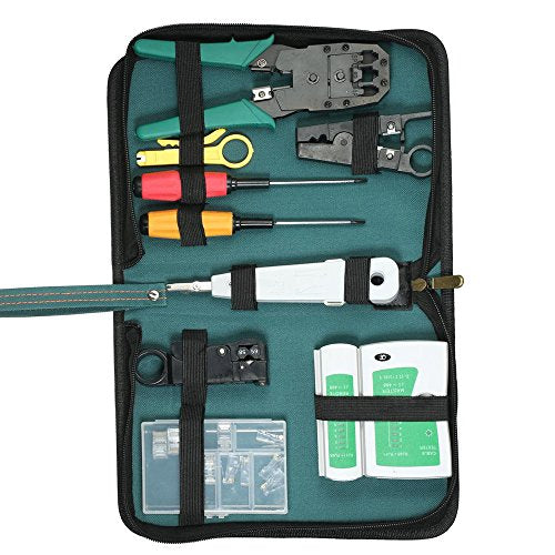 9 in 1 Network Repair Tools Sets Network Repair Kits Network Crimping Tool Kit Computer Maintenance LAN Cable Tester Wire Stripper Crystal Cable Connector Network Cable Repair Maintenance Tool Kit Set