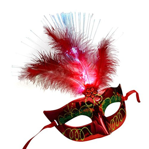 Mchoice HOT Women Venetian LED Fiber Mask Masquerade Fancy Dress Party Princess Feather Masks (Red)
