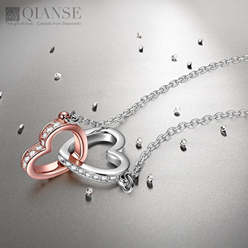 QIANSE Mothers Day Gifts For Women Heart Necklaces Teen Girls Swarovski Crystal Jewelry Silver